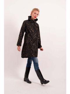 Danefae-Helen-regenjas-dames-zwart-goud-hartjes-model