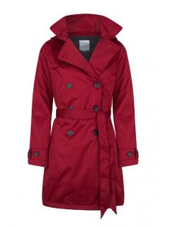Dames-regentrenchcoat-Happy-Rainy-Days-satin-padded-deep-red-voorkant