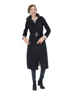 Dames-regenjas-Happy-Rainy-Days-extra-lang-bowie-zwart-zand-voorkant-model