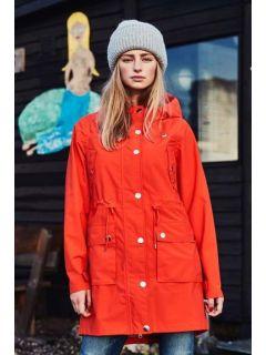 regenparka-dames-oranje-rood-modelsfeer