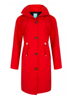 Dames-regencoat-Happy-Rainy-Days-rood-Rosa-voorkant