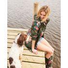 dames-regenjas-opvouwbaar-joules-golightly-groen-bloemen-khaki-rose-model-hond